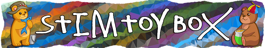 Header text reads Stim Toy Box in white text on a colourful, striped fractal background. Two small bear images stand on either side of the text, one holding a fish and wearing a fishing hat, the other holding a pot and wearing a spinner cap. The edges of the banner mimic torn paper.