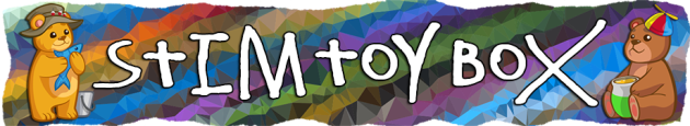 "Header text reads ""Stim Toy Box"" in white text on a colourful, stripedfractal background. Two small bear images stand on either side of the text, one holding a fish and wearing a fishing hat, the other holding a pot and wearing a spinner cap. The edges of the banner mimic torn paper."