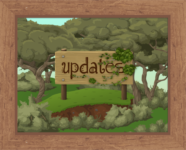 "Image of a wooden sign with the word ""updates"" written in brown fantasy-style handdrawn type. The sign sits on a grassy rise surrounded by scrubby bushes and low trees with twisted branches, looking something like tea-tree or paperbarks. The image is surrounded by a tan brown wooden frame."