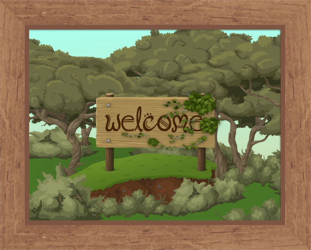 "Image of a wooden sign with the word ""welcome"" written in brown fantasy-style handdrawn type. The sign sits on a grassy rise surrounded by scrubby bushes and low trees with twisted branches, looking something like tea-tree or paperbarks. The image is surrounded by a tan brown wooden frame."