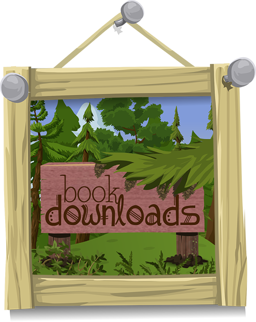 Picture of a wooden sign surrounded by scrub bush reading Book Downloads in fantasy-style text.