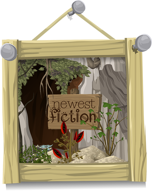Framed cartoon-style vector image of a wooden sign in front of an ivy-covered cave entrance set into a grey rock wall. Fantasy style brown type on the sign reads Newest Fiction. Image is surrounded by a wooden frame.
