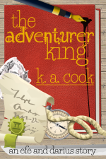 "Cover image for The Adventurer King by K. A. Cook. Cover features a red leather-bound journal sitting on a wood panel background, like that of a tabletop or floor, with the text sitting on top of the book image in a gold fantasy-style handdrawn type. Objects sit on top of the book cover: a blue pen with a gold nib dripping ink, a screwed-up piece of white paper, a cream scroll with a green seal, a cream and silver compass, and a piece of rope. A grey single-edged sword blade sits underneath the book, and black handdrawn type atop the blade reads ""an efe and darius story"". The images have a cartoony, vectory feel."