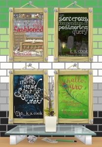 A cartoony image of four book covers hanging inside wooden frames, nailed to a cracked brick wall with rows of bricks in the colours of the aromantic pride flag: dark green, light green, white, grey and black. Below the wall display sits a glass table with a potted plant sitting on top; a few crumpled sheets of paper and a green pencil sit on the wood floor under the table. The book covers inside the frames include the books Old Fashioned, The Sorcerous Compendium of Postmortem Query, The Wind and the Stars and Hallo, Aro, all by K. A. Cook.