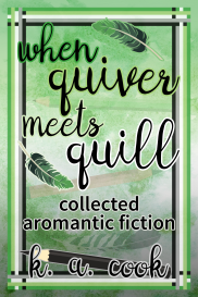 Cover image for When Quiver Meets Quill: Collected Aromantic Fiction by K. A. Cook. Cover depicts a frame border in the stripes of the aromantic pride flag against a mottled green background, title text arranged around images of pencils and feathers. Text is in black handdrawn type outlined in different shades of greens, greys and whites.
