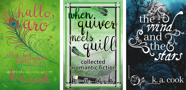 Cover images: Hallo, Aro; When Quiver Meets Quill; The Wind and the Stars. Covers feature stylised images of trees and feathers with pink, black or white handdrawn type for author credit.