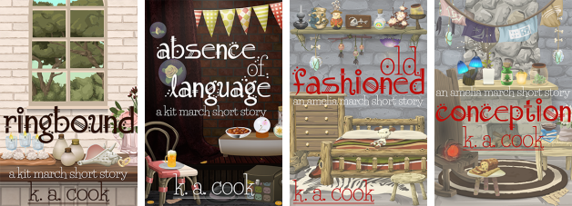 Cover images: Ringbound, Abscence of Language, Old Fashioned, Conception. Covers feature a variety of indoor scenes with brown, red or white fantasy-style type for title credit.
