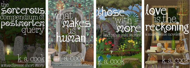 Cover images: The Sorcerous Compendium of Postmortem Query, What Makes Us Human, Those With More, Love is the Reckoning. Covers feature a variety of outdoor and indoor scenes with white fantasy-style type for title credit.
