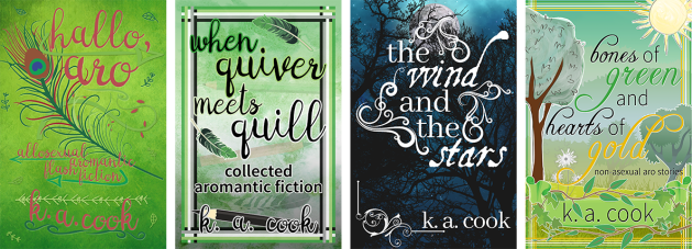 Cover images: Hallo, Aro; When Quiver Meets Quill; The Wind and the Stars; Bones of Green and Hearts of Gold. Covers feature stylised images of trees and feathers with pink, black or white handdrawn type for author credit.